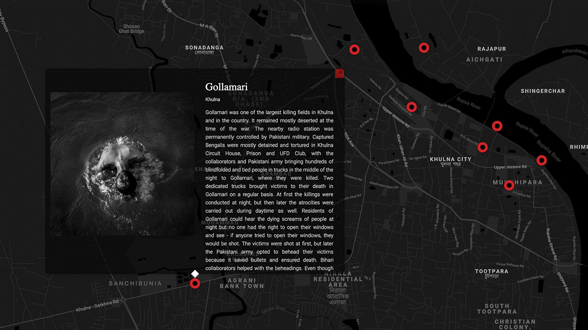 Screenshot of the interactive map that shows the exact points of the mass graves, killing fields, torture cells along with geo-tagging photographs, testimonies, text and other relevant information for a specific point.