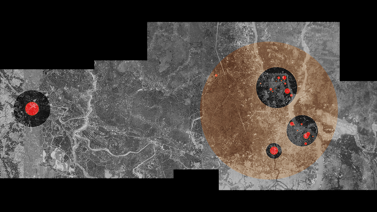 Static map of Khulna showing the zones of atrocity. The sizes of the circles correspond to the perceived impact of the fatalities.
